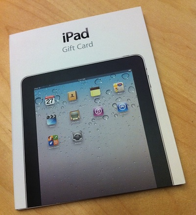 ipad gift cards spotted at apple stores macstories. Black Bedroom Furniture Sets. Home Design Ideas