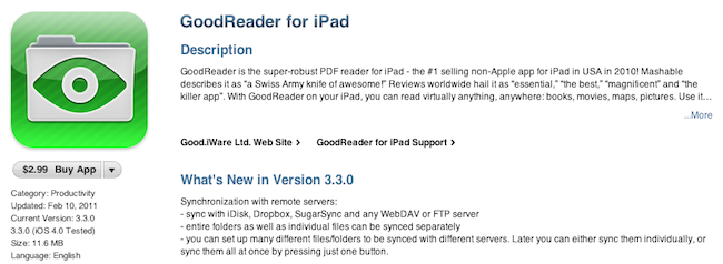 GoodReader for iPad Update: Remote Sync, Better Download