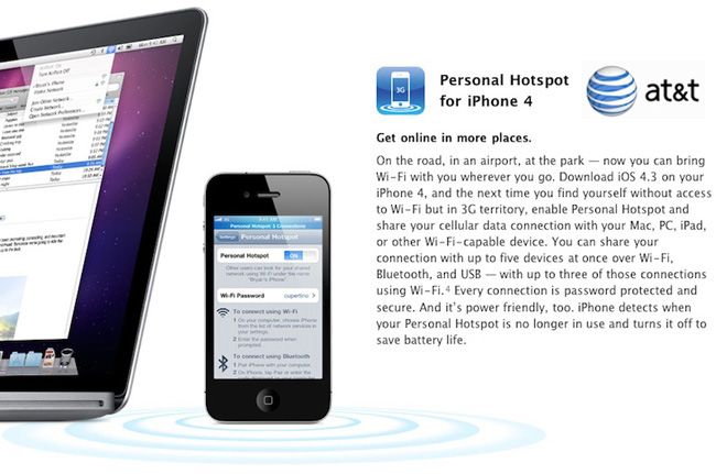 at t hotspot iphone at amp t confirms iphone personal hotspot with ios 4 3 also 10166