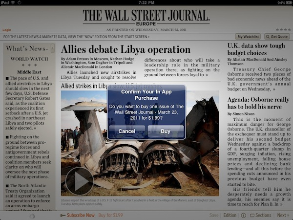 WSJ Starts Selling Single-Issues Using In-App Purchases – MacStories