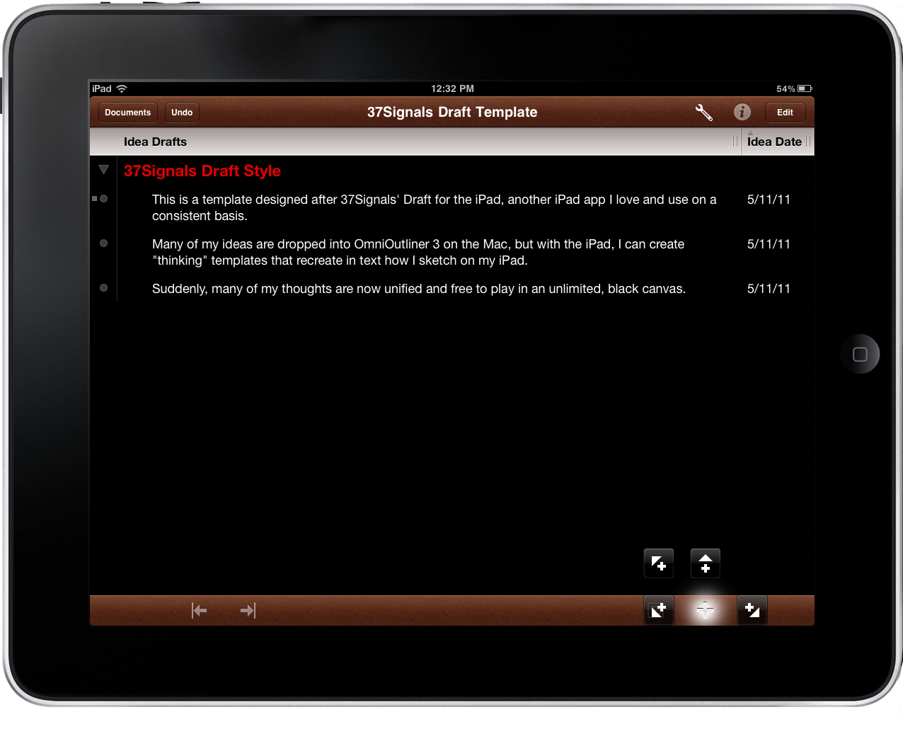 Omnioutliner for ipad launch overview macstories for Omnioutliner templates