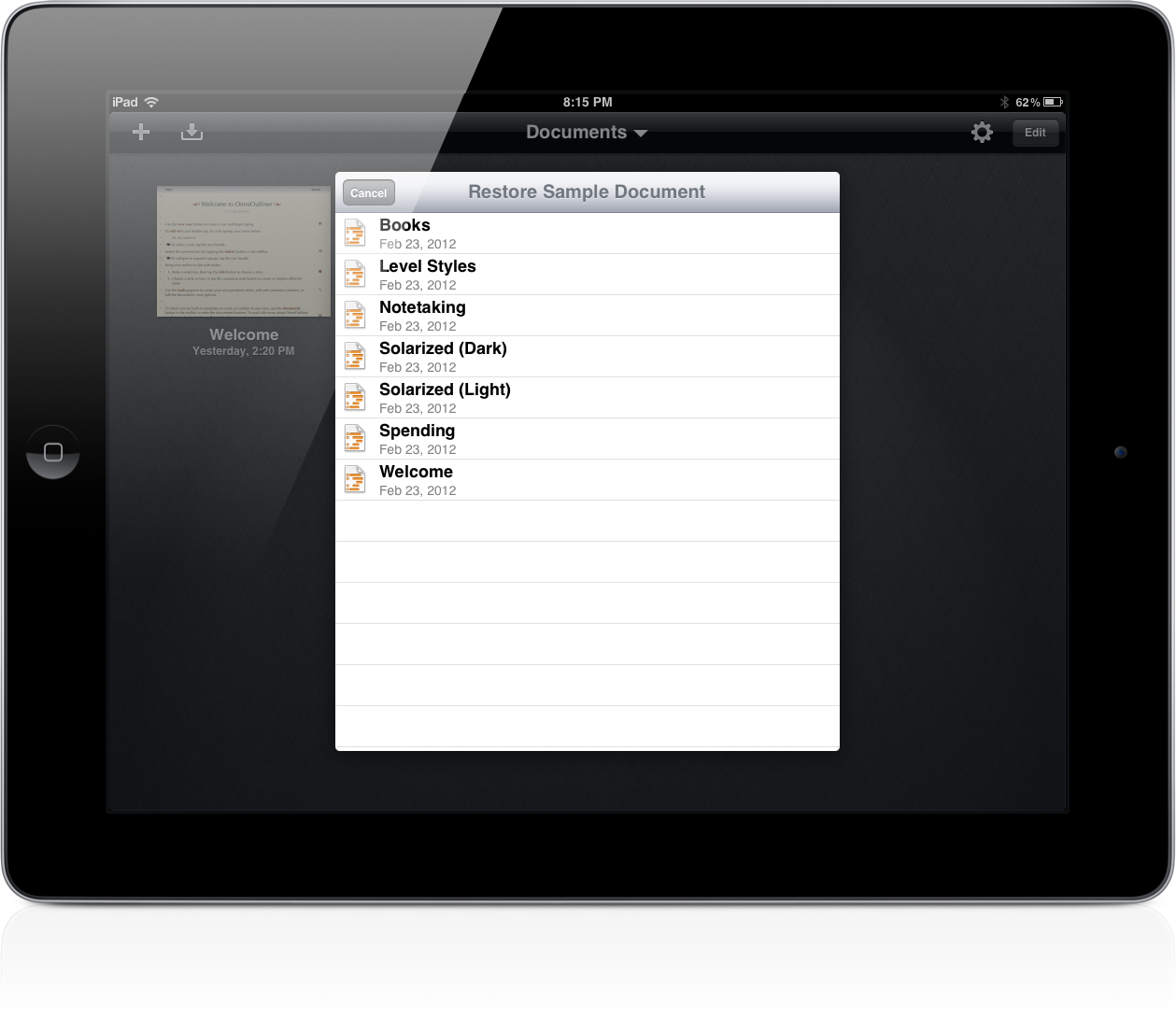 omnioutliner templates omnioutliner 1 2 for ipad sets the stage for icloud sync