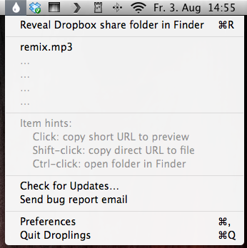 how to get dropbox on menu bar