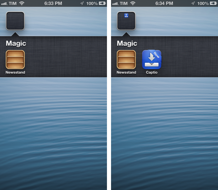 Hide Newsstand In A Folder On iOS 6 With One Click, No